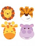 8 maschere in cartone animaletti della giungla
