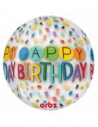 Palloncino trasparente in alluminio Happy Birthday