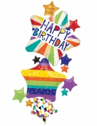 Palloncino alluminio Happy Birthday stelle multicolor