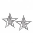 2 stelle 3D argentate da appendere