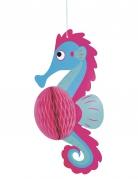 Sospensione carta alveolata cavalluccio marino blu e rosa