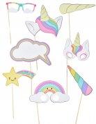 Kit photobooth 8 accessori baby unicorno