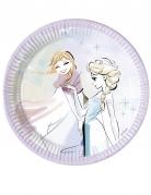 8 piattini in cartone lilla Frozen™ 20 cm