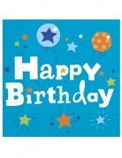 20 tovaglioli di carta Happy Birthday blu