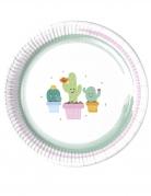 8 piatti in cartone piccoli cactus 23 cm