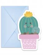 6 inviti per festa con buste piccolo cactus