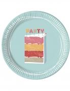 8 piatti in cartone torta buon compleanno 23 cm