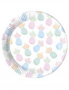 8 piatti in cartone ananas pastello 23 cm