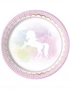 8 piatti in cartone unicorno rosa e pastello 23 cm