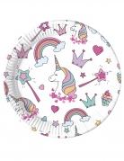 8 piatti in cartone baby unicorno 23 cm