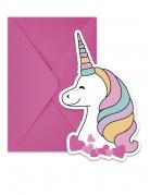 6 inviti per festa con buste baby unicorno
