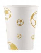 8 bicchieri in cartone bianchi con pallone calcio oro