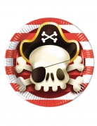 8 piatti in cartone teschio pirata 23 cm