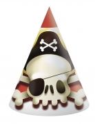6 cappelli in cartone teschio pirata
