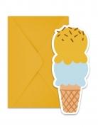 6 inviti per festa con buste passione gelato