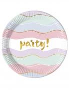 8 piatti in cartone party pastello 23 cm