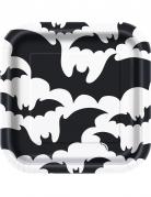 10 piattini in cartone quadrati pipistrelli neri 18 cm