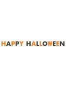 Ghirlanda brillantini Happy Halloween arancione e nera