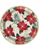 8 piatti in cartone stella di Natale rossa e oro 23 cm