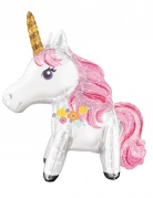 Palloncino alluminio unicorno bianco e rosa