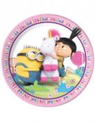 8 piatti in cartone unicorno con i Minions ™ 23 cm