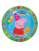 8 piattini verdi e blu in cartone Peppa Pig™ 18 cm