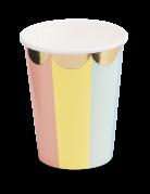 8 bicchieri in cartone pastello bordo oro