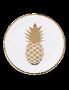 8 piatti di carta bianchi e oro con Ananas