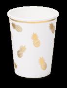 8 bicchieri in cartone bianchi ananas oro