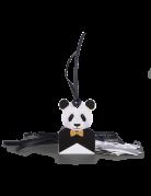 8 etichette in cartone panda con nastrino nero
