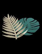 6 foglie tropicali verdi e oro