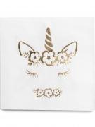 16 tovaglioli di carta unicorno oro e bianco