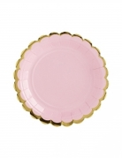 6 piattini in cartone rosa bordo oro 18 cm