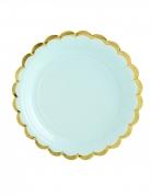 6 piattini in cartone color menta bordo oro 18 cm