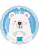 8 piattini in cartone piccolo orso 18 cm