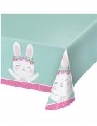 Tovaglia in plastica color menta con coniglio
