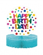 Centrotavola in carta alveolata Happy Birthday arcobaleno