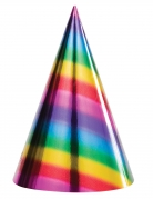 8 cappellini per festa in cartone arcobaleno
