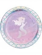 8 piattini in cartone sirena iridescente 18 cm