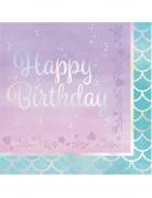 16 tovaglioli di carta Happy Birthday sirena iridescente