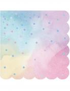 16 tovagliolini di carta multicolor pois iridescenti