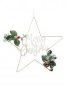 Sospensione in metallo con stelle Merry Christmas