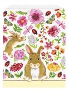 8 sacchetti regalo in carta coniglio floreale