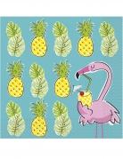 16 tovaglioli di carta ananas e fenicotteri