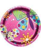8 piattini in cartone rosa metallizzato farfalle 18 cm