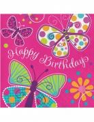 16 tovaglioli di carta rosa farfalle