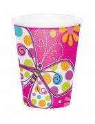8 bicchieri in cartone rosa farfalle