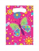 8 sacchetti in plastica rosa farfalle