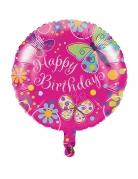 Palloncino di alluminio Happy Birthday farfalle