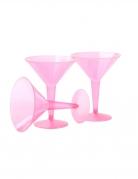 10 calici martini in plastica rosa